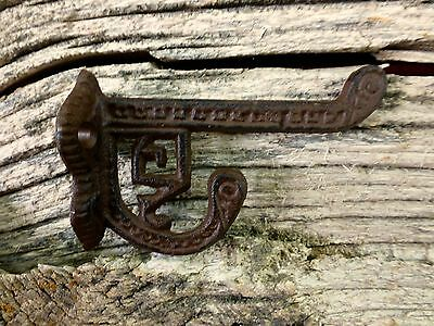 6 BROWN ANTIQUE-STYLE CAST IRON EASTLAKE-STYLE VICTORIAN COAT HOOKS hardware art