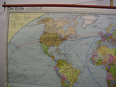 Schulwandkarte schöne alte Weltkarte politische 245x142c vintage world map 1977 3