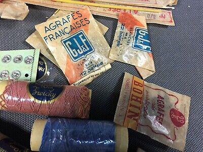 Lot anciennes aiguilles à tricoter et fil de couture broderie mercerie vintage 5