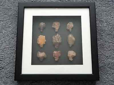 Paleolithic Arrowheads in 3D Picture Frame, Authentic Artifacts 70,000BC (O005) 3