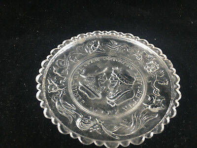 Clear Glass Antique Pressed Glass Small Plate Wedding Day Motto Sandwich 3 Weeks 4