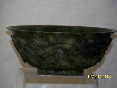 Chinese Hetian Spinach Jade Carved Dragon Sides Bowl w/Box