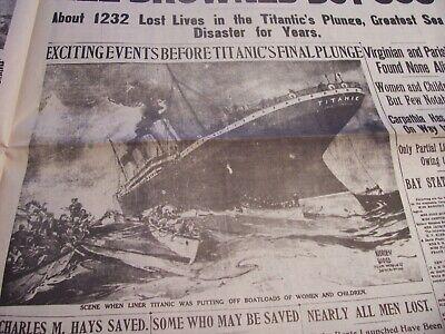 TITANIC NEWSPAPER 1912 Boston Globe/Marsh Murder Story/Ty Cobb Quits Team  !!!!! 10