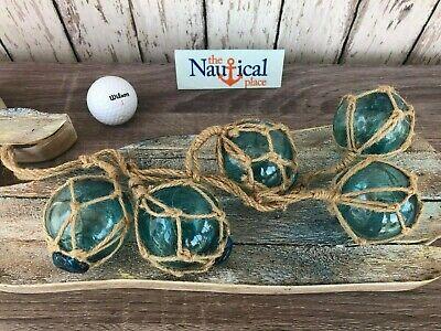 "(5) - 2"" Aqua Glass Fishing Floats On Rope ~Nautical Fish Net Decor ~Light Blue 7"