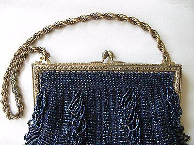 Clothing, Shoes & Accessories Bright Antique Art Deco Gold T Braided Chain Blue Knit Iridescent Peacock Bead Purse