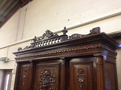 Carved Victorian Walnut Flemish Buffet Bookcase Bacchus Dresser GreenManPussyOak 10