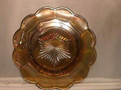 FAB! NORTHWOOD Marigold Grape & Cable Carnival Glass Butter Dish Signed 8