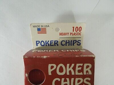 Vintage Poker Chips 100 Count Crisloid Heavy Plastics Made in USA Game Pieces