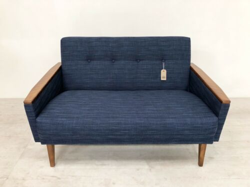 Danish Vintage Inspired Mid Century 50S 2 Seater Cocktail Sofa Settee In Navy 4