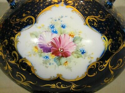 "Antique Continental Porcelain Hand Painted Cobalt & Gold Urn mid 19th c 7""h 4"