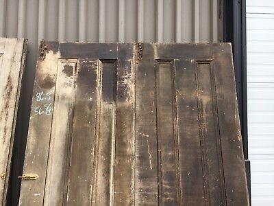 "c1850/60 paneled 3 door set hinged on 2 old varnish PINE 86.5"" h x 28"" & 56"" w"