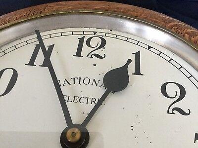1930s Art Deco Oak Wall Clock Industrial Large Office, Working 5