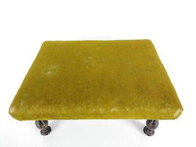 Antique 1800's Victorian Green Velvet Wooden Footstool 9