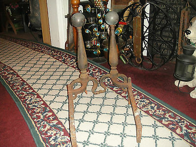 Antique Cast Iron Andirons-Sphere Ball Top-Chicken Leg-USA Made-Fireplace Insert