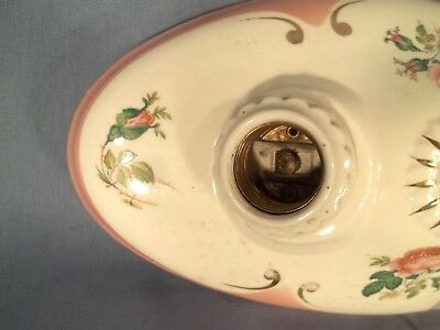 Antique Victorian Double Socket Glazed And Decorated Ceramic Ceiling Light 5