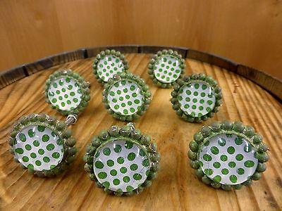 8 GREEN SUN FLOWER GLASS DRAWER CABINET PULLS KNOBS VINTAGE chic garden hardware 2
