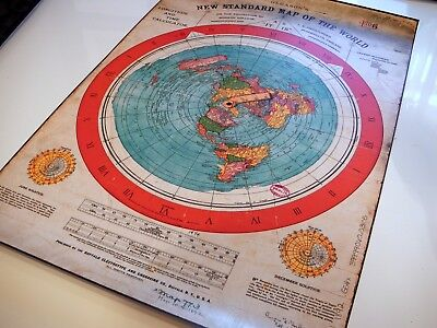 FLAT EARTH POSTER Azimuthal Equidistant Projection; USGS Nautical Radar Map