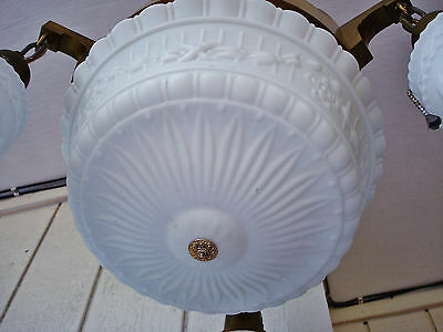Salvaged Elegant Antique Colonial Revival 4 Bulbs Ceiling Lamp Chandelier 3