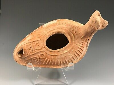 Ancient Byzantine Zoomorphic Oil Lamp; Holy Land A.d. 300 - 800 A.d. Scarce! 2