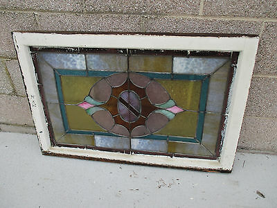 ANTIQUE AMERICAN STAINED GLASS WINDOW 36 x 24 ~ ARCHITECTURAL SALVAGE~ 7
