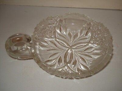 Vtg Flower Burst Abp Clear Cut Glass Nappy Dish Etched Flowers Sgl Loop Handle 5