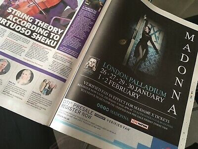 Madonna Madame X Tour Uk Full Page Press Ad London Palladium Shows Metro Paper 2