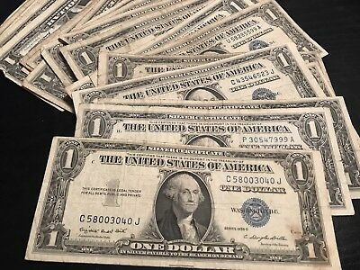 1 Of 6FREE Shipping 1935 1957 Lucky Silver Certificate Rare Blue One Dollar Bill Lot Note