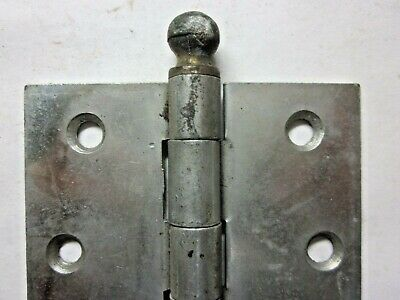 """1 Antique McKinney Square 3"""" Cabinet Mortise Hinge Ball Tips 2 Tone Nickel Brass 8"""