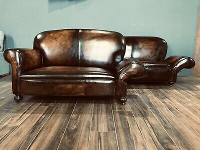 Restored Original 1920's Art Deco Club Sofas In Hand Dyed Leather 11