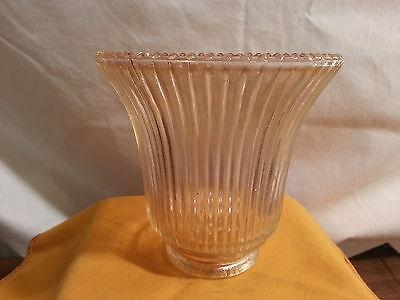 Vintage Glass Globe Lamp Light Fixture ribbed design 8