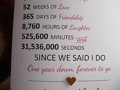 handmade personalised first 1st year wedding anniversary card