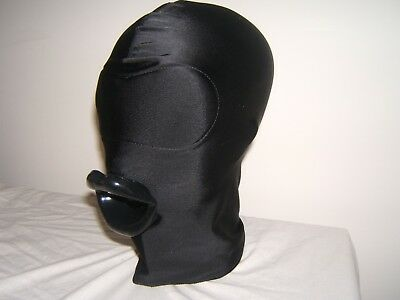 Black Spandex Gimp mask no eyes and Latex sissy lips in Red Black or Pink Size M 2