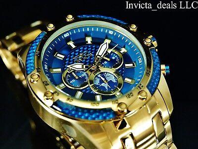 Invicta Men's 50mm SPEEDWAY SCUBA Chronograph Sapphire Blue Gold Tone SS Watch 4