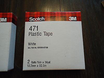 2 SCOTCH 3M 471 PLASTIC TAPE WHITE 2 ROLLS EACH BOX. 1/2' X 36 YD.(12.7mm x 32.9 2