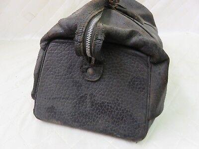 Doctor's Medical Bag Antique Satchel Messenger House Call Bag Leather Linen 9
