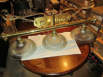 "Vintage Brass Billiard Chandelier Light Fixture 3 Lights with Glass Globes ,48"" 3"