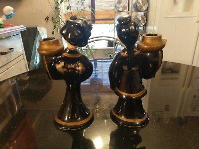 Pair Of Adorable Antique Asian Ceramic Candle Sticks 5