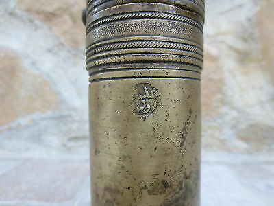 Primitive Antique Ottoman Brass-Carved TUGRA Marked Hand Coffee Grinder 19th #01 3