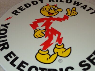 "Vintage ""Reddy Kilowatt Electric Servant"" 11 3/4"" Porcelain Metal Gasoline Sign! 2"