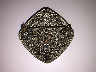 Antike Gablonz/Strass Modeschmuck Brosche mit Steinen 17,2 g/4,5 x 4,5 cm