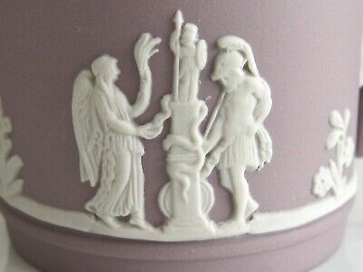 Antique / Vintage Lilac Wedgwood Jasperware Cupid Mythology Demitasse 4 Cup Set 2