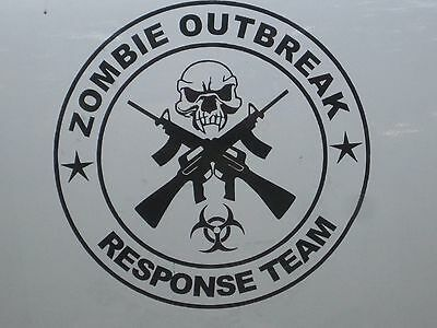 Zombie Outbreak Response Team Guns Vinyl Door Decals Stickers 75045 Set of 2