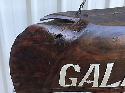 Antique Hand Carved Wooden Water Buffalo Bell/ Gallery Signage 3