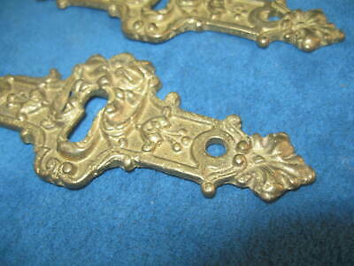 """4- Vintage Ornate Cast Solid Brass Figural 4.5"""" KEYHOLE COVER PLATES..Never Used 5"""
