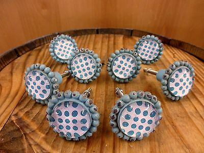8 BLUE SUN FLOWER GLASS DRAWER CABINET PULLS KNOBS VINTAGE chic garden hardware 2