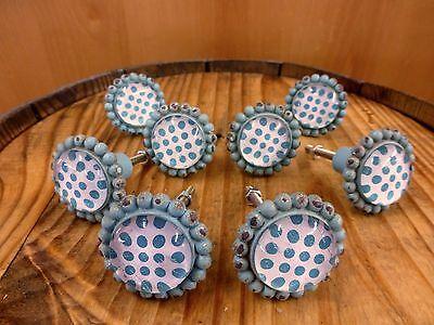 8 BLUE SUN FLOWER GLASS DRAWER CABINET PULLS KNOBS VINTAGE chic garden hardware 2