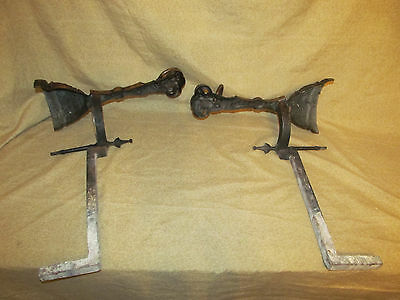 Pair Antique Victorian Bronze Rams Head Form Andirons Aesthetic 12