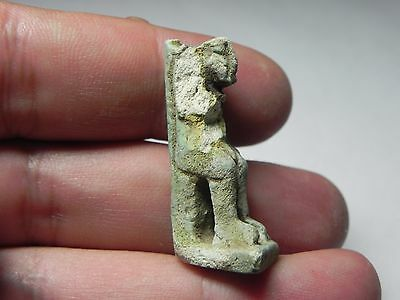 Zurqieh -Af896- Ancient Egypt , Faience Seated Amulet. 600 - 300 B.c