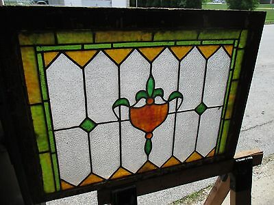 ~ ANTIQUE AMERICAN STAINED GLASS TRANSOM WINDOW 32 x 23.25 ARCHITECTURAL SALVAGE 6