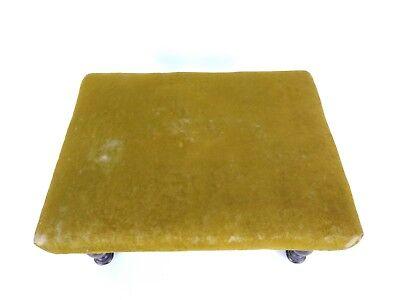 Antique 1800's Victorian Green Velvet Wooden Footstool 2